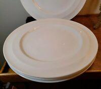 "Gibson Designs Elite White Embossed Lines Bone China 11"" Dinner Plates Set 4"