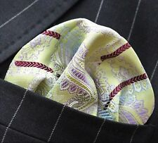 Hankie Pocket Square Handkerchief Green Lilac & Brown