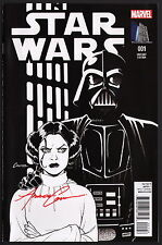SIGNED Star Wars #1 Marvel Amanda Conner Sketch Art Variant Carrie Fisher Cover