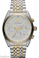 EMPORIO ARMANI CLASSIC 2,TWO TONE SILVER,GOLD+CHRONOGRAPH+DATE WATCH AR0396+BOX