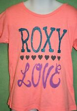 Roxy Shirt Top Girls Bright Pink Coral Tee T Shirt Size 5 New Screen Graphic