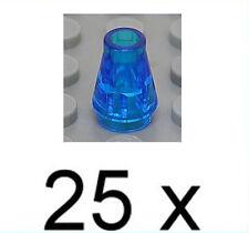 LEGO - 25 x Kegel 1x1 transparent dunkelblau / Kegelstein / Cone / 4589 NEUWARE