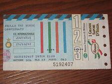 INTER JUVENTUS BIGLIETTO TICKET CALCIO 1992/93 SERIE A