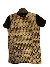 Burberry Mens Tee Shirt 100% Cotton Printed T Shirt Gold/Black 2X