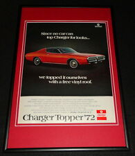 1972 Dodge Charger Topper Framed 12x18 ORIGINAL Advertisement