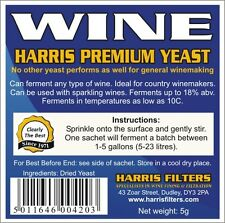 Harris Premium Wine Yeast - ferments up to 5 gallons of wine