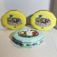 Spring Easter Sees Candy Metal Tin Lot Of 3 Basket Of Eggs, Bunny In Flowers