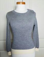 BANANA REPUBLIC Women's Sweater - Size XS Gray Cream Merino Wool Button Shoulder