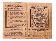 ANCIENNE CARTE CGT DES TRAVAILLEURS DE L'HABILLEMENT ET DE LA CHAPELLERIE 1947