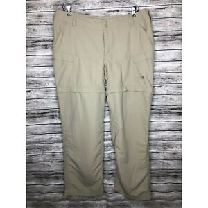 The North Face Womens 18 Beige Convertible Zip Off Roll Up Nylon Cargo Pants