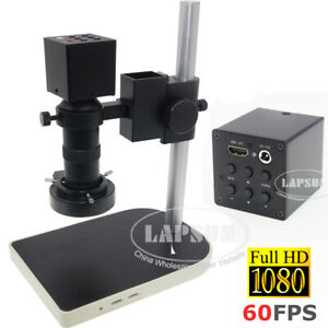 8X-100X ZOOM 1080P FHD 60FPS HDMI C-mount Industry Microscope Camera Set Stand