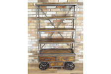 INDUSTRIAL RECLAIMED RUSTIC METAL WOOD BOOKCASE SHELVING UNIT (DX4918)