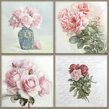 4x Paper Napkins for Decoupage Vintage Rose Bouquet Mix