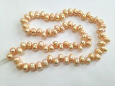 "New 5-6mm Peach High Lustre Oval Freshwater Pearls 14"" Strand Side Drilled"