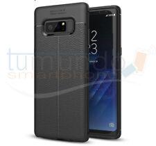 Funda de gel TPU tipo piel negra para Samsung Galaxy Note 8 Case