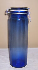 ~~ TALL COBALT APOTHOCARY JAR WITH SPRING WIRE CLOSING