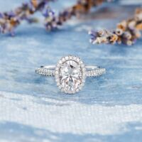 6*8mm Halo Oval Cut Moissanite Engagement Anniversary Ring 14k White Gold GP