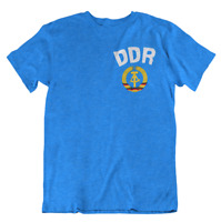 Mens T-Shirt DDR East Germany CHEST Logo Retro Football Socialist Blue Gift Tee