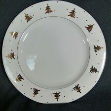 "Tienshan Golden Pines Dinner Plate 10 1/2"" Discontinued White Gold Trees Trim"