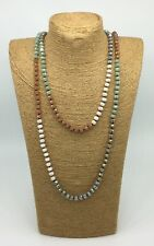 Free Shipping Long Knotted Mix Color Tribal Glass Crystal  Necklace Woman Gift