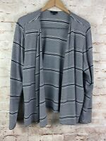 J. Jill Wearever Collection Navy Blue Striped Open Front Cardigan Top Size Large