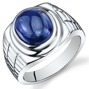 Mens 8 cts Oval Cabochon Sapphire Sterling Silver Ring Sizes 8 To 13