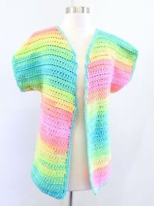 Vtg Handmade Crochet Bright Rainbow Colorful Cardigan Sweater Size XS / S / M