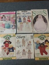 LOT OF 6 VINTAGE CRAFT DOLL CLOTHES PATTERNS CABBAGE PATCH AND OTHERS