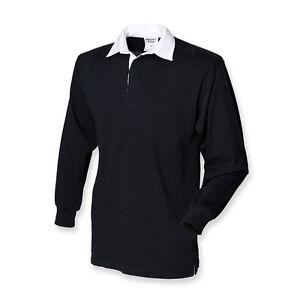 Plain BLACK Cotton Classic Original Long Sleeve Rugby Shirt No Logo