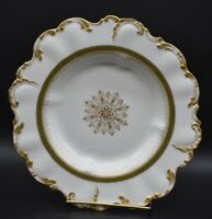 WM Guerin Limoges Rimmed Scalloped Soup Bowl Gold Medallion Green Laurel