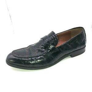 Stacy Adams Mens Size 8M Black Genuine Snake Leather Slip On Loafers Dress Shoes
