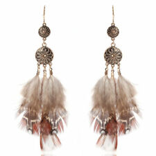 Vintage Coffee Feather Hook Ear Fashion Jewelry Women Drop Dangle Earrings