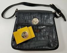 Kate Spade Crocodile Black Leather Purse Lock Hand Bag Yellow Accordion Wallet