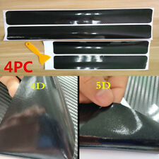 4x 5D Carbon Fiber Car Accessories Door Sill Scuff Protector Stickers+Tool Blk
