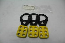"Brady 49255 Prinzing 1-1/2""  L/O Hasp  Yellow, Epoxy-Coated ( lot of 3 ) Used"