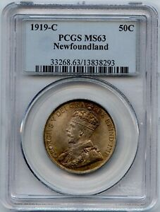 1919c Newfoundland Fifty Cents - PCGS MS63 - Great Toning