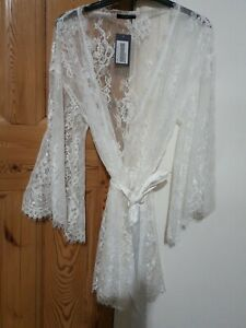 Figleaves Gigi Galloon Lace  Robe Size Small