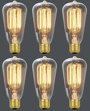 (6) Globe 01321 60W Vintage Edison S60 Squirrel Cage Incandescent Light Bulbs