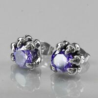 Silver purple crystal earrings stainless steel claw stud new arrival 2019