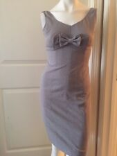 Rebecca Taylor Sz 4 Gray Tan Beige Bow Sheath Dress