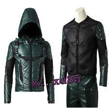 Green Arrow Season 5 Oliver Queen Hooded Vest +Shirt Cosplay Costume Custom Made