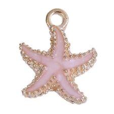 4 Enamel Pink Starfish Charms Gold Plated Pendants