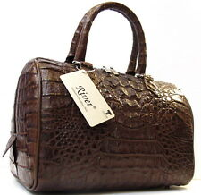 100% HORNBACK GENUINE CROCODILE LEATHER HANDBAG BAG PURSE TOTE SHINY BROWN NEW
