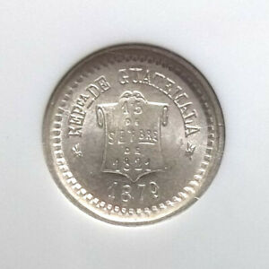 GUATEMALA - 1879 - 1/2 REAL - NGC MS66 - FULLY WHITE - KM-147a1 - 1/2R