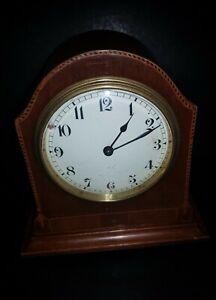 Vintage Buren Mantle Clock  Attractive Inlaid Case, Enamel Face Working