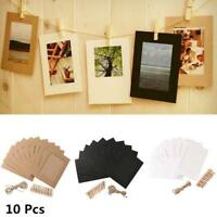 10Pcs Paper Photo Wall Art Picture Polaroid DIY Hanging Album Frame + Rope Clips