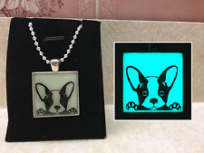 French BULLDOG Puppy GLOW IN THE DARK Monogram CUTE Pet Pendant Charm Necklace