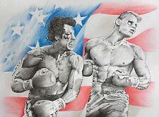 Rocky & Drago Original Drawing /Painting Fan-ART. Sylvester Stallone Lundgren