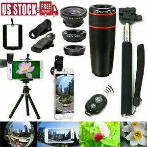 Cell Phone Camera Lens 8X Telescope Wide Angle Fish Eye Selfie Stick Tripod Kit