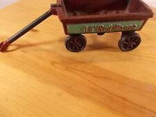 """Cast Iron Little LIL' RED WAGON Handle Wheels Move Red Green 4"""" Miniature"""